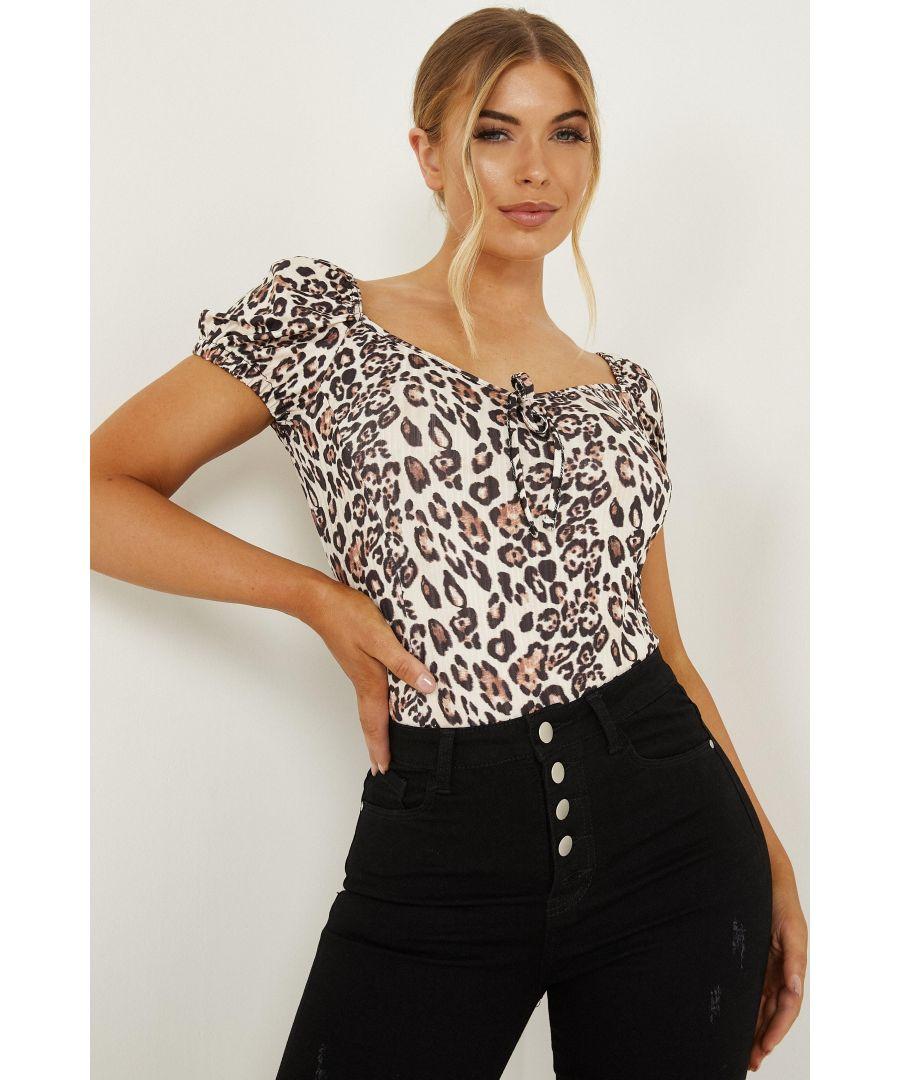Image for Petite Cream Leopard Puff Sleeve Bodysuit
