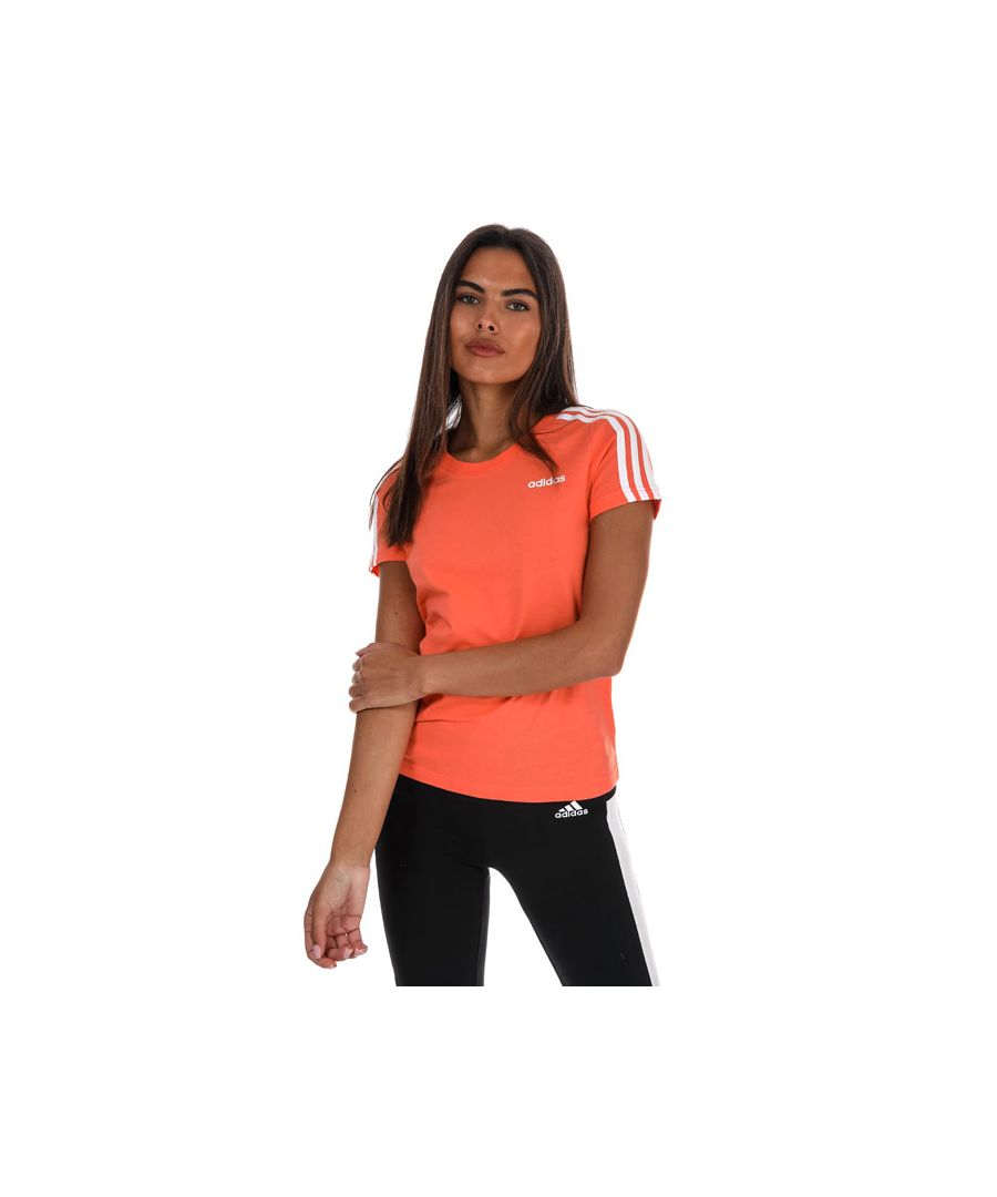 Image for Women's Adidas Essentials 3-Stripes T-Shirt In Coral