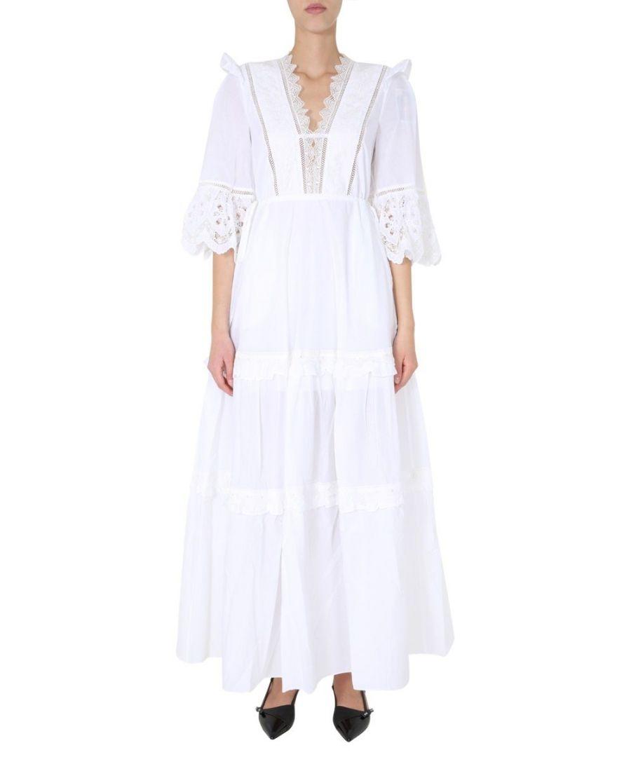 Image for SELF-PORTRAIT WOMEN'S SS20051WHITE WHITE COTTON DRESS