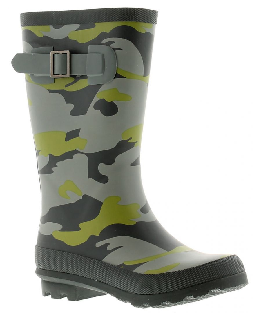 Image for Rockstorm Camouflage Boys Kids Wellies Wellington Boots Green Camo