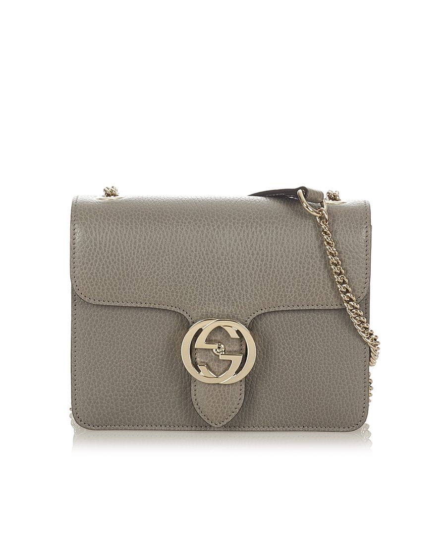 Image for Vintage Gucci Interlocking G Chain Leather Crossbody Bag Gray