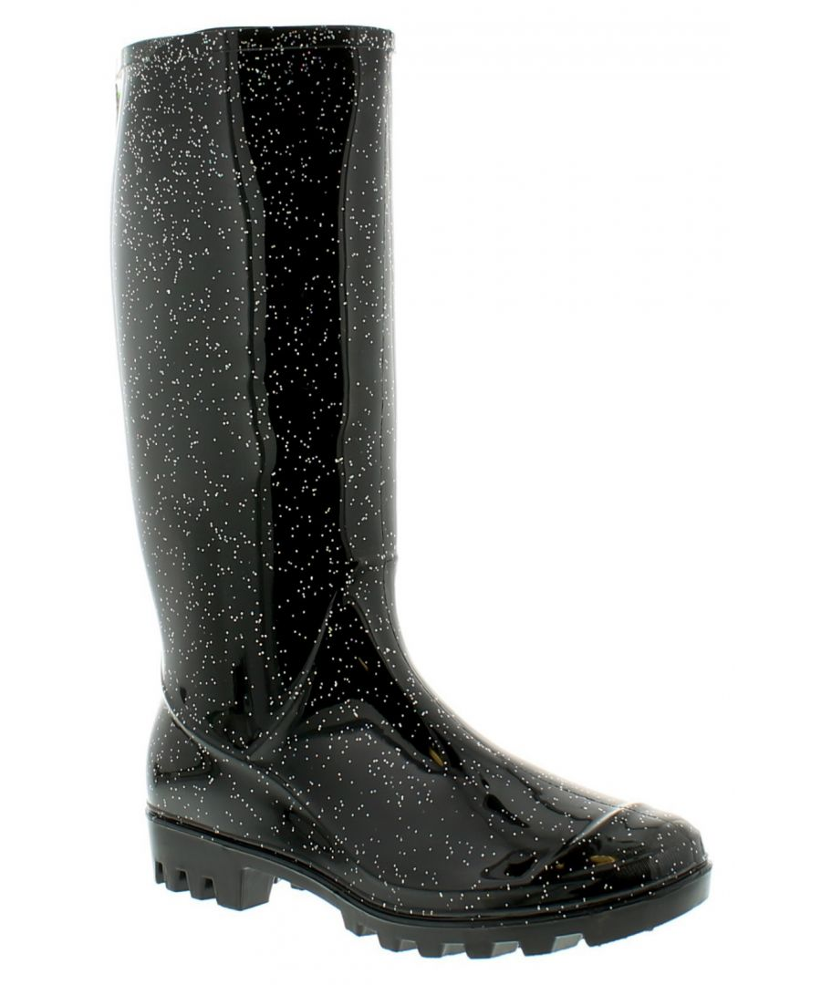 Image for Womens/Ladies Black Long Leg Pvc Wellingtons With A Glitter Finish.