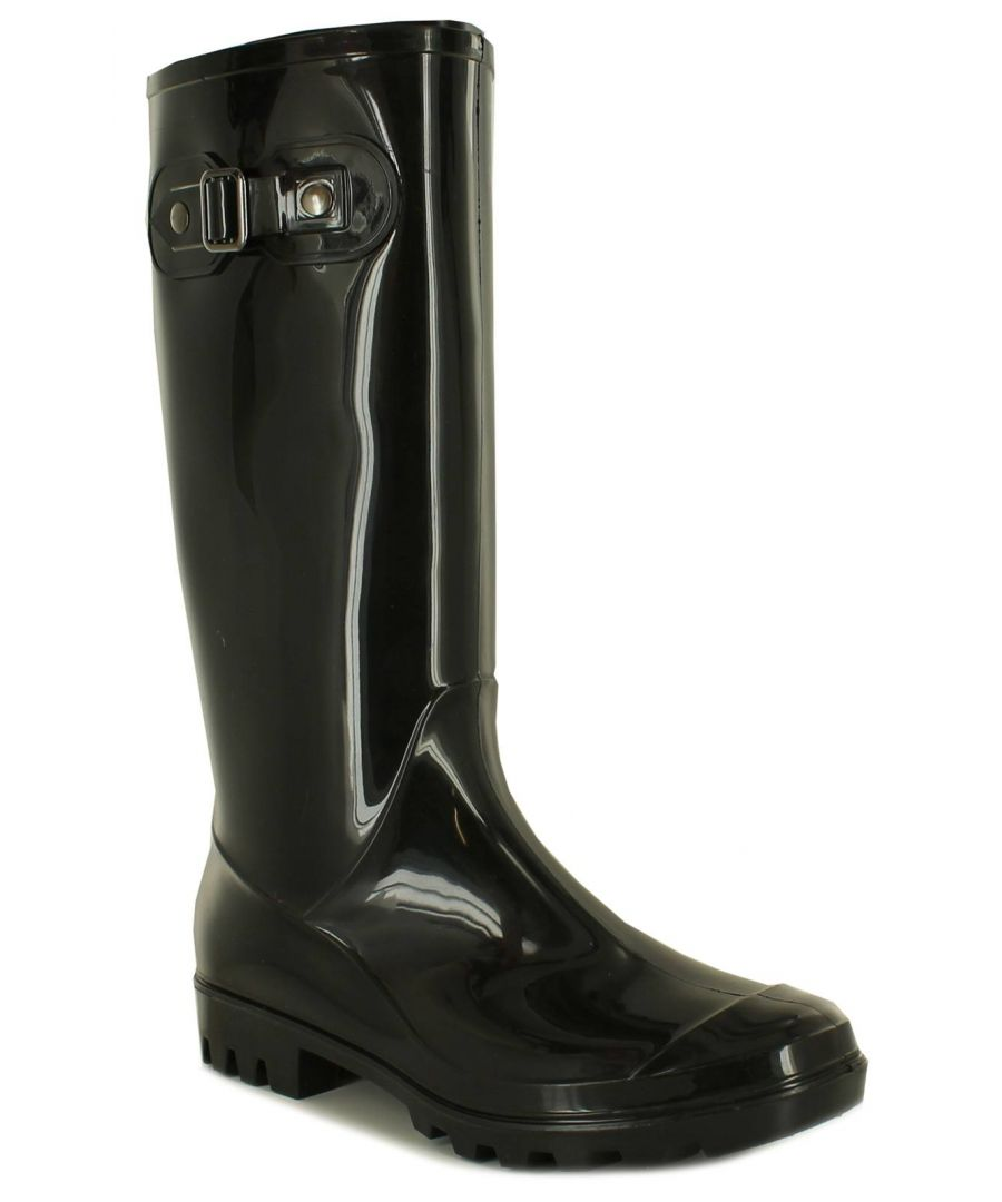 Image for New Ladies/Womens Black Long Leg Wellington Boots With Cleat Sloe