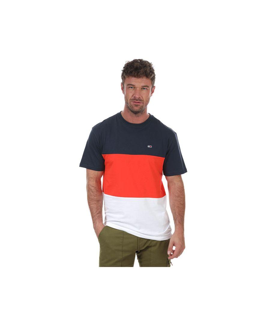Image for Men's Tommy Hilfiger Colour Block T-Shirt in Navy Orange
