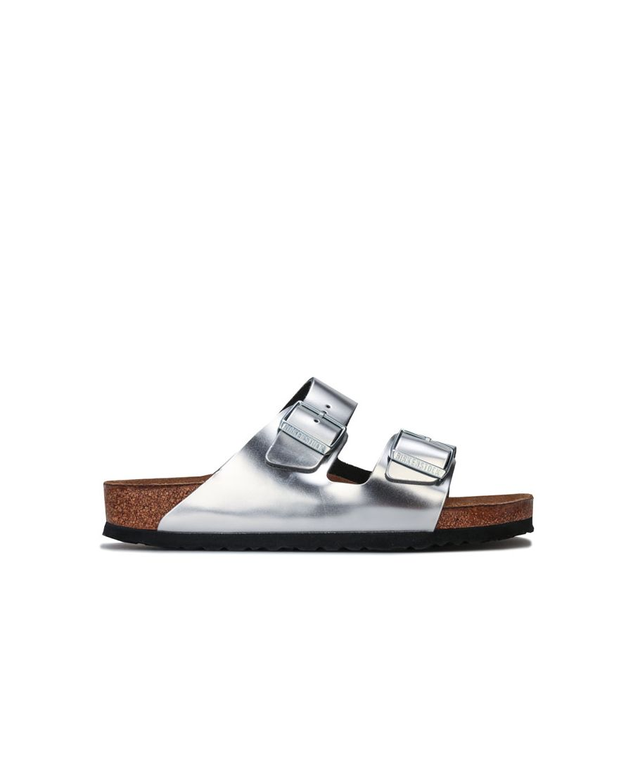 Image for Women's Birkenstock Arizona Leather Sandals Narrow Width in Silver