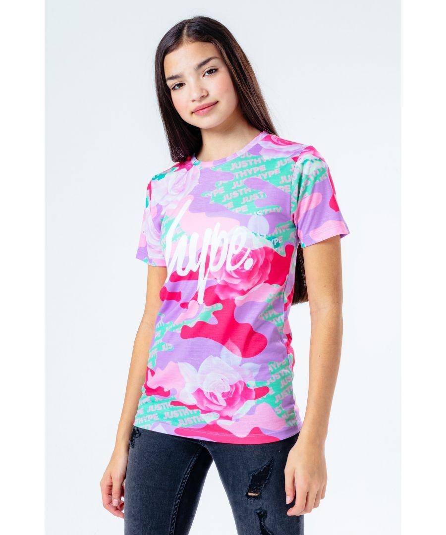 Image for Hype Multi Camo Rose Kids T-Shirt