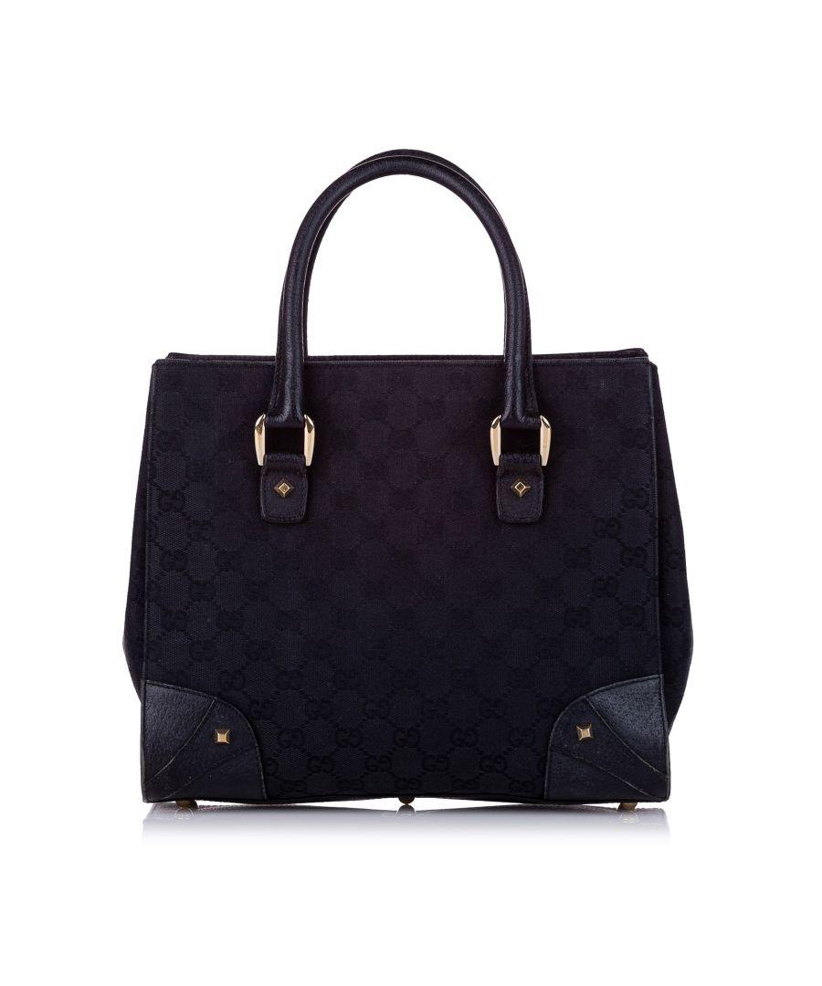 Image for Vintage Gucci GG Canvas Nailhead Handbag Black