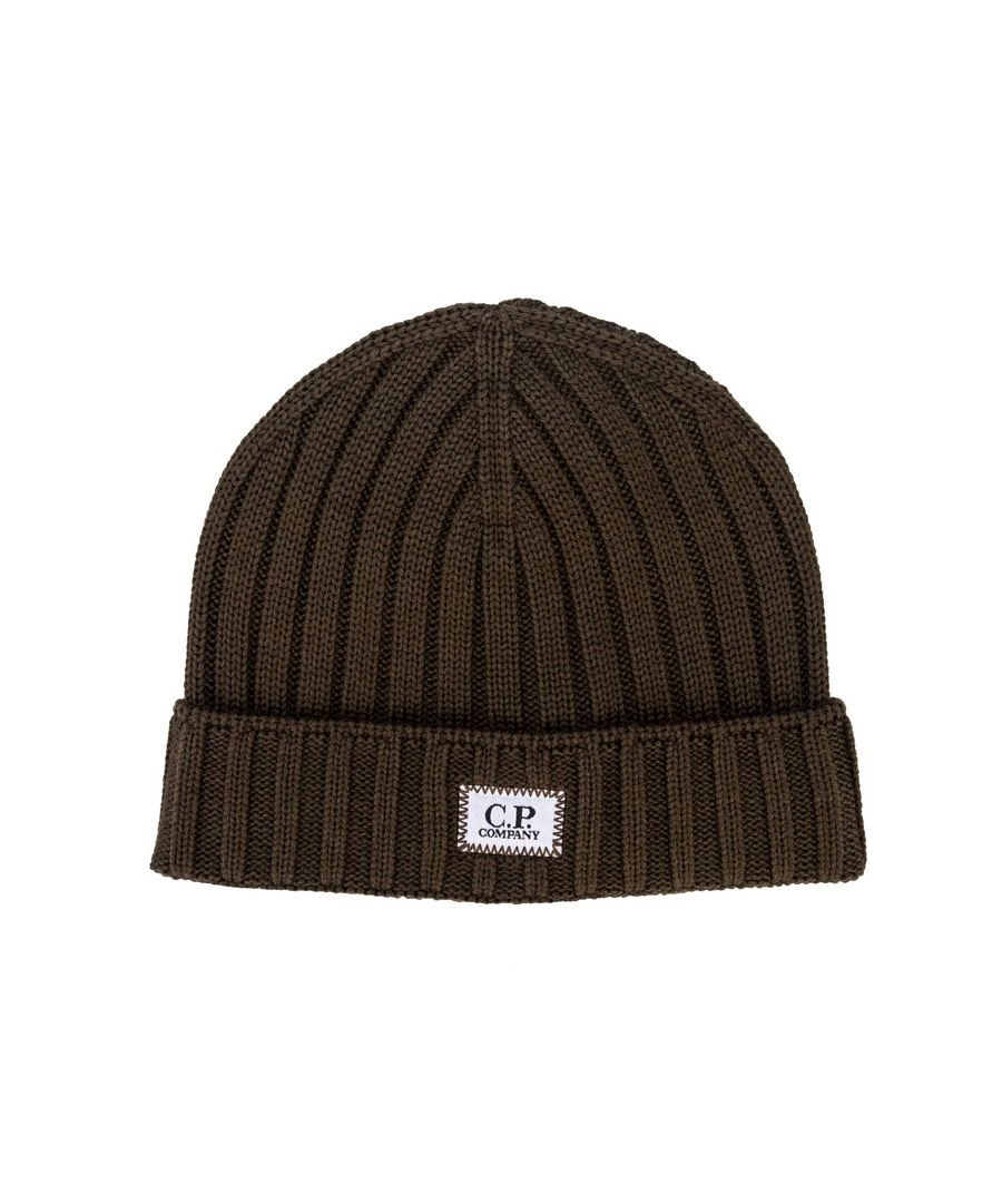Image for Accessories C.P. Company Knitted Wool Beanie with Badge Logo in Khaki