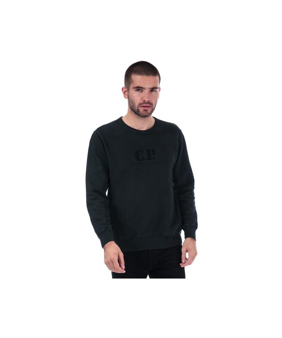 Image for Men's C.P. Company Crew Neck Embroidered Logo Sweatshirt in Black