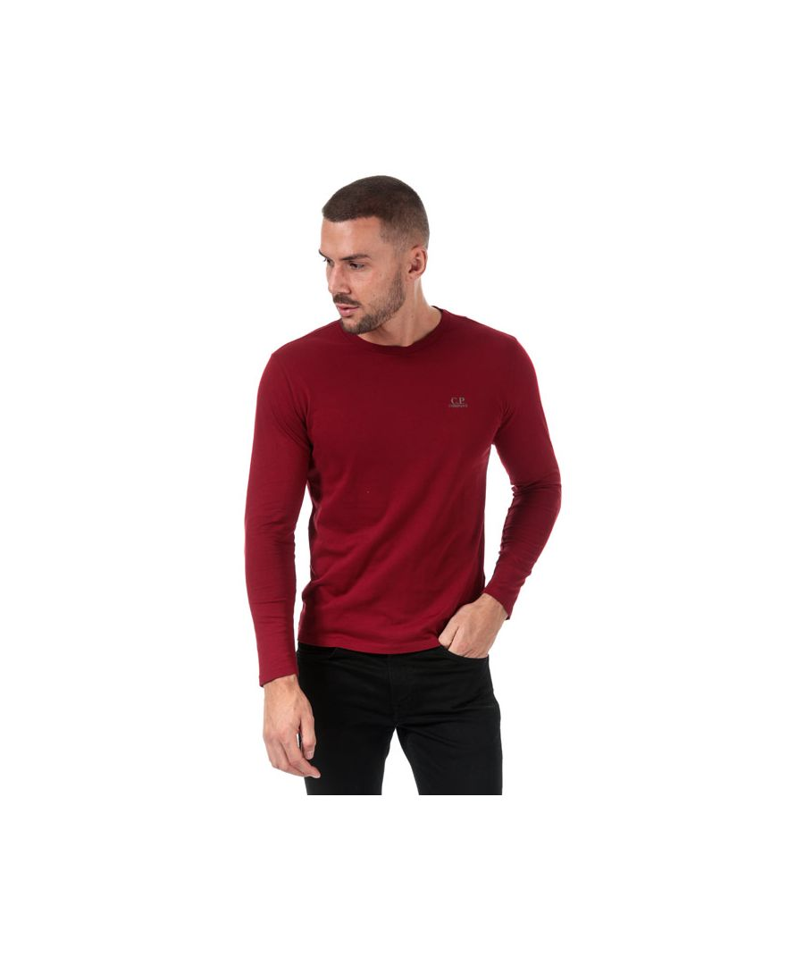 Image for Men's C.P. Company J Dimond Logo Long Sleeve T-Shirt in Red