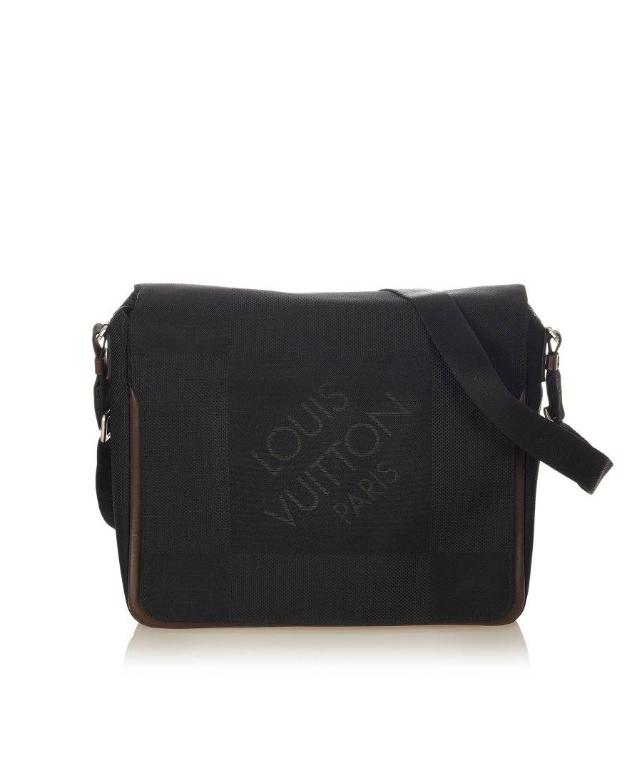 Image for Vintage Louis Vuitton Terre Damier Geant Canvas Messenger Bag Black