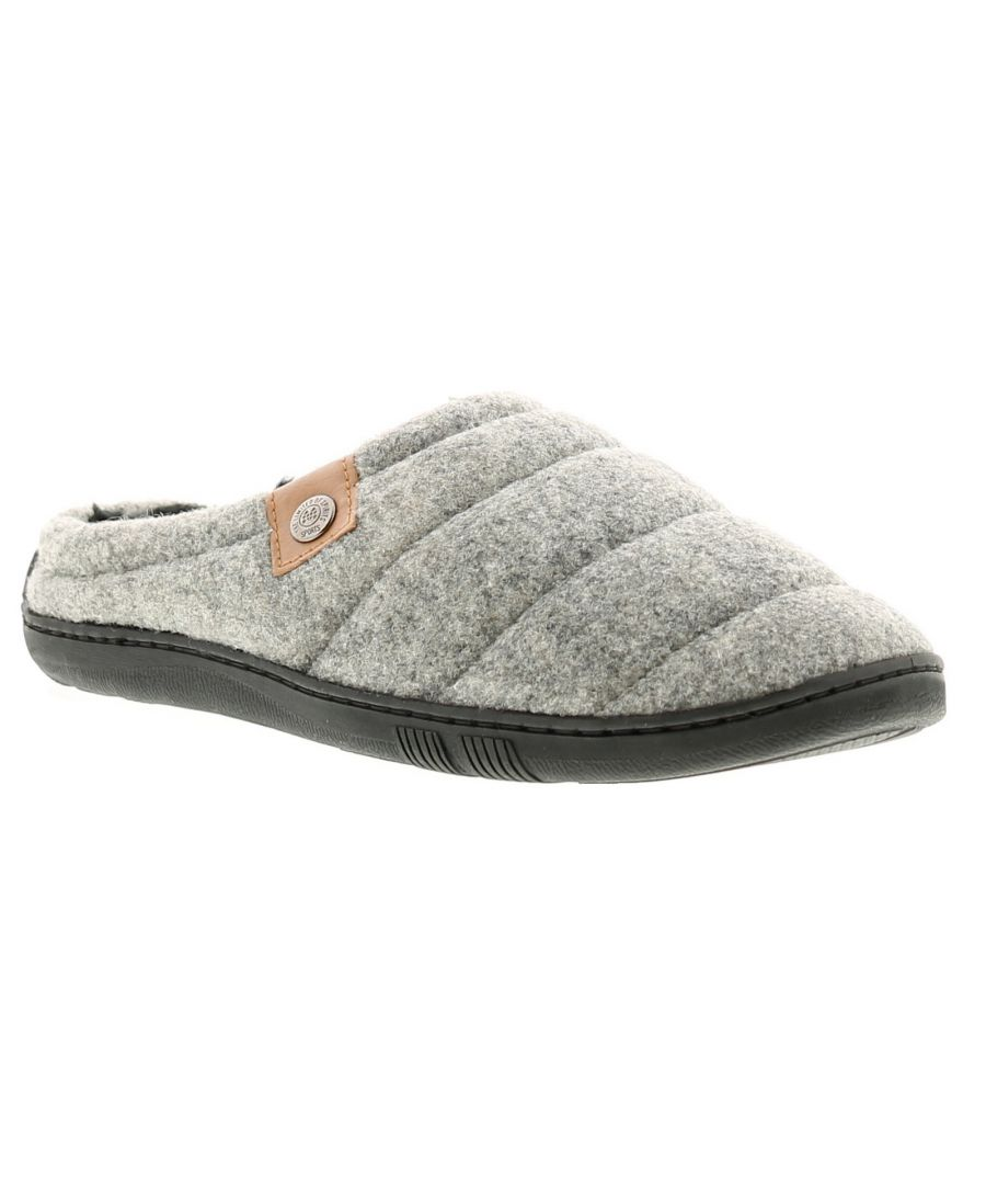 Image for Knights matt 2 mens slip on slippers grey