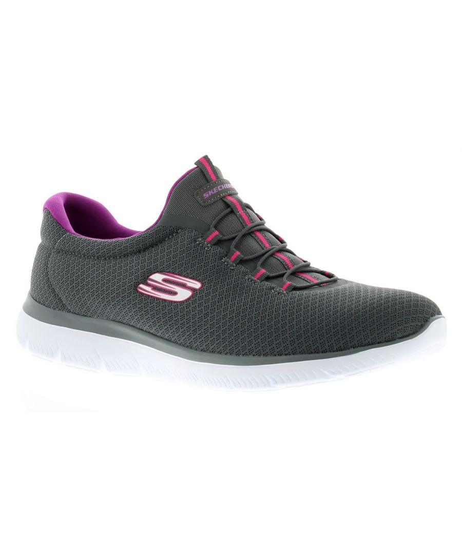 Image for Ladies Skechers Summits Slip On Trainers With Knit Mesh Upper Features Bungee Laces And Memory Foam