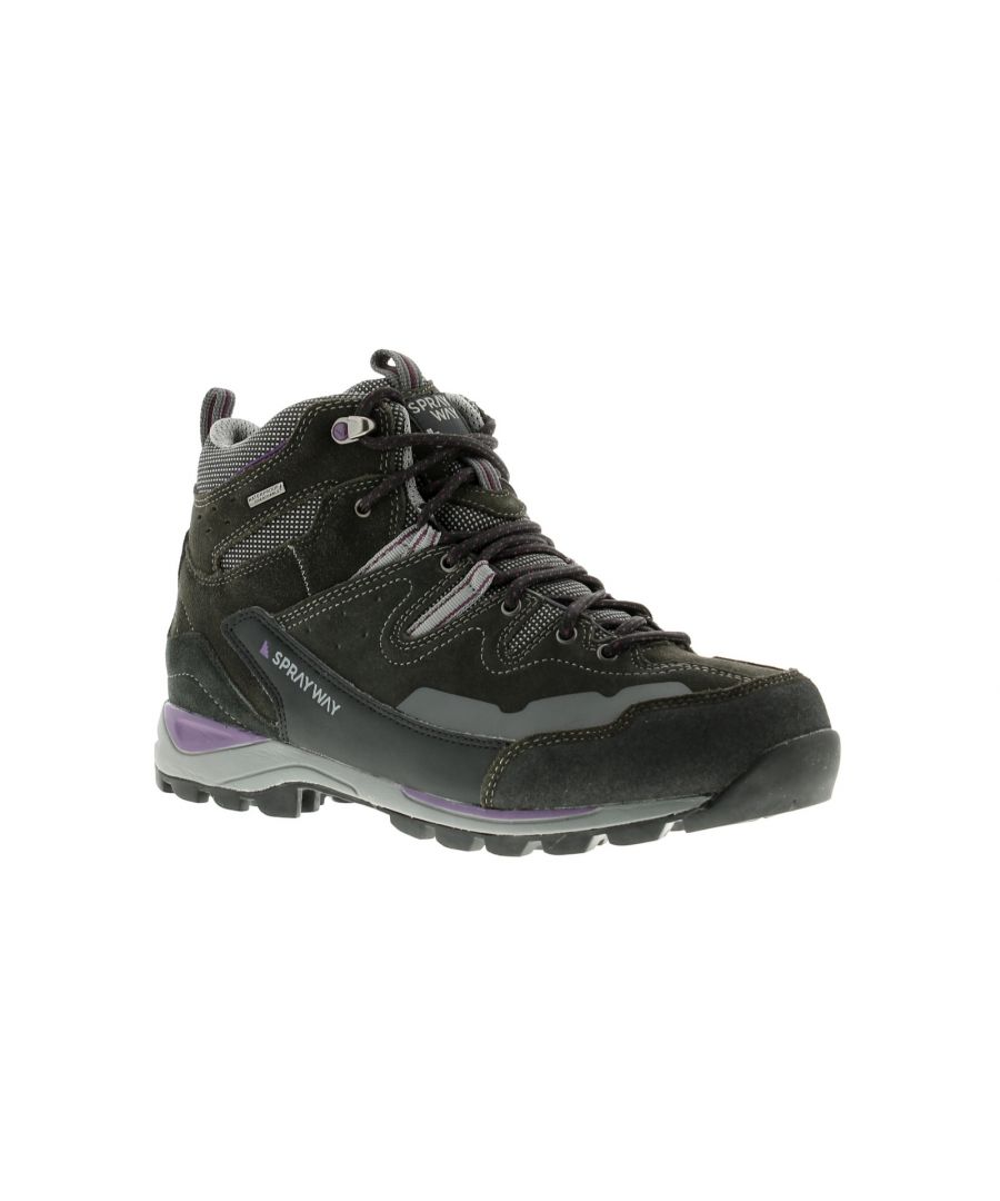 Image for Ladies Sprayway Oxna Mid Hydrodry Hikers Close Fitting Suede Boot For Rougher Terrain Featuring A Su