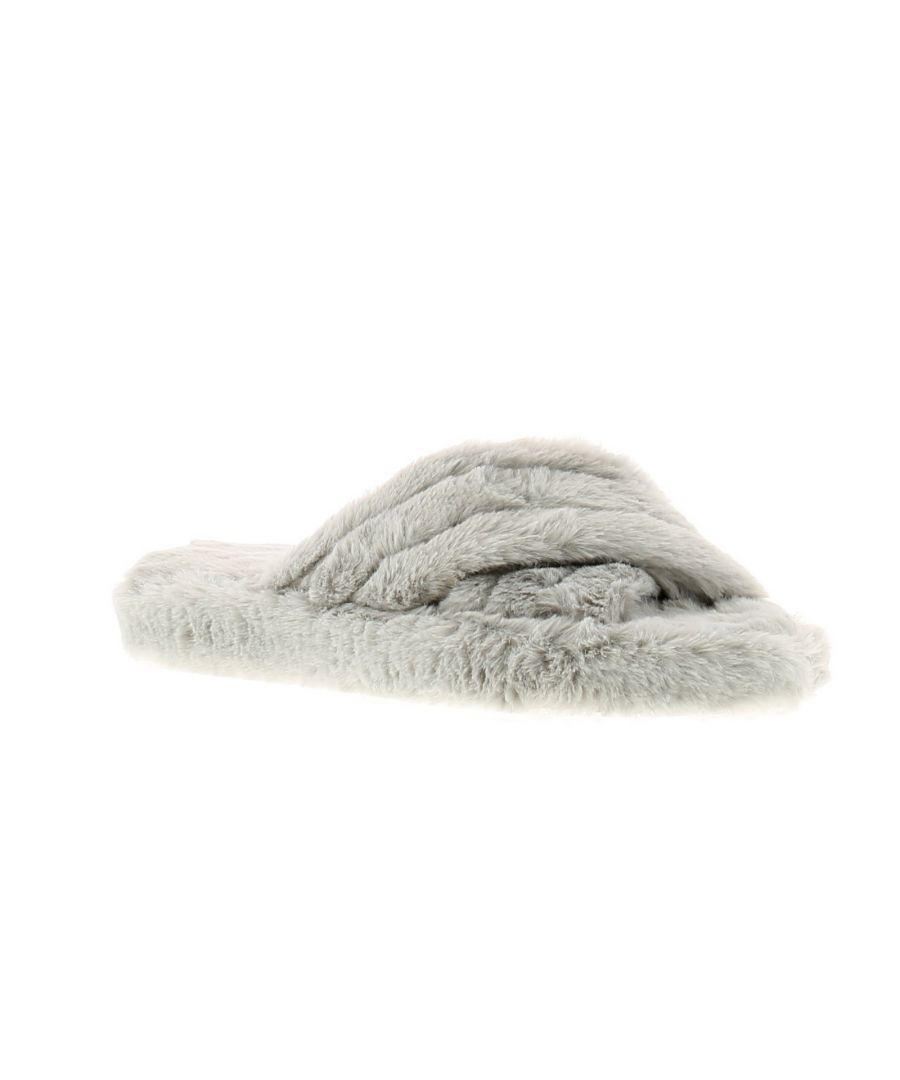 Image for Wynsors fluffy x womens ladies slip on slippers grey