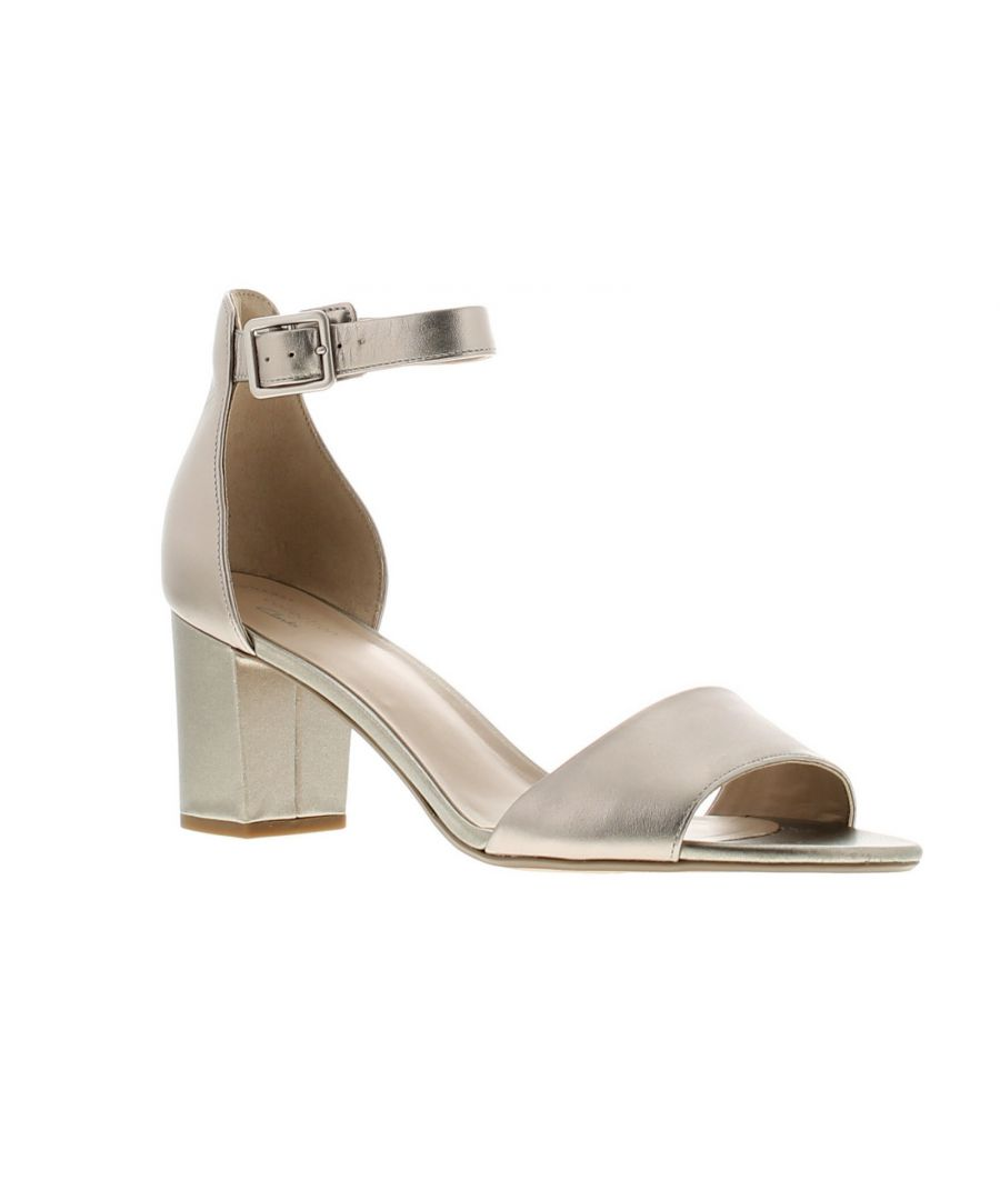 Image for Clarks deva mae leather womens ladies heeled sandals pewter