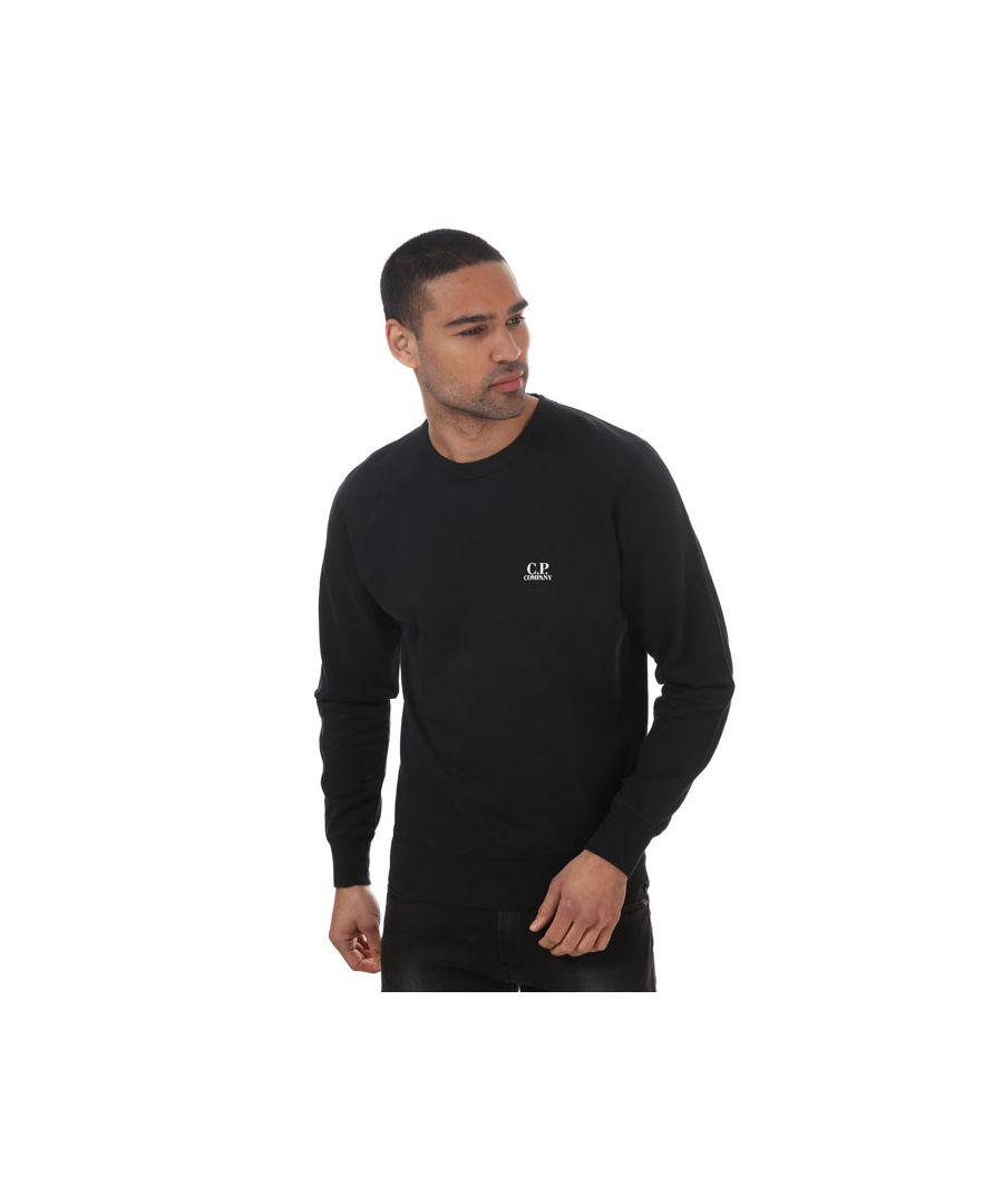 Image for Men's C.P. Company Print Logo Sweatshirt Black Sin Black