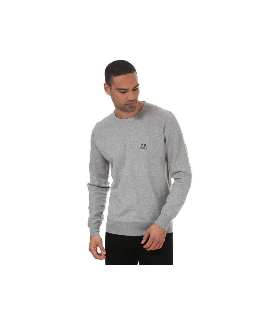 Image for Men's C.P. Company Print Logo Sweatshirt Grey Sin Grey