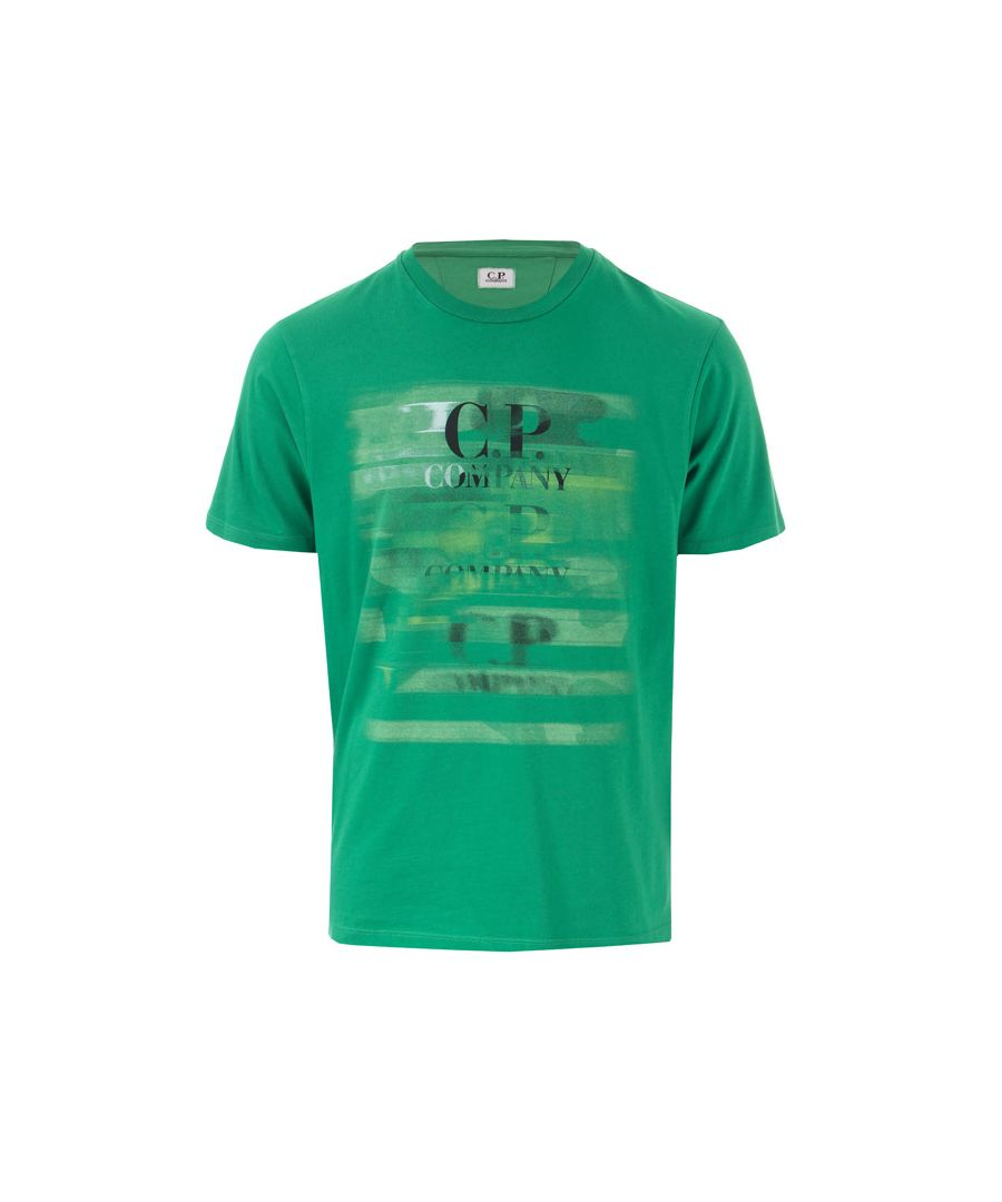 Image for Men's C.P. Company Paint Logo T-Shirt in Green