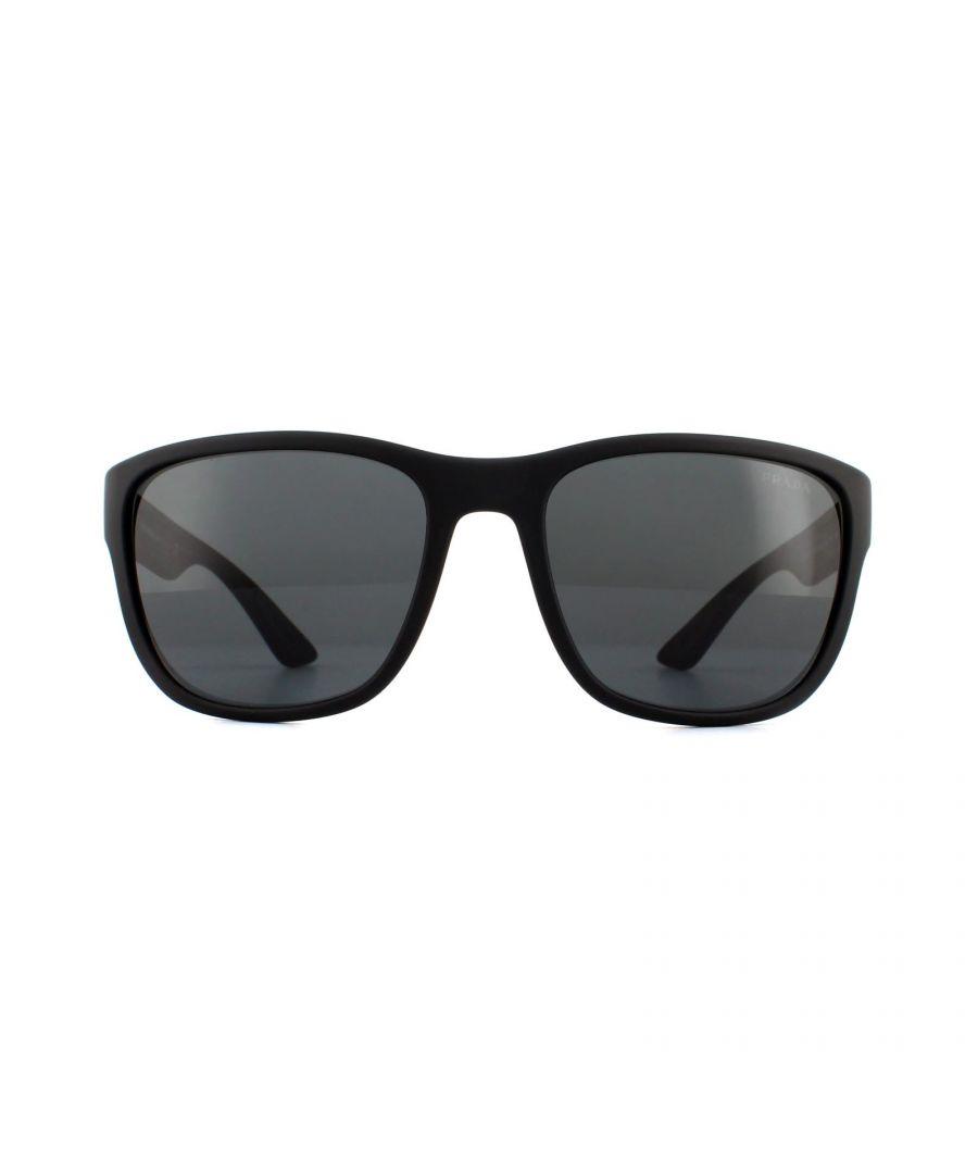 Image for Prada Sport Sunglasses PS01US DG05S0 Black Rubber Grey
