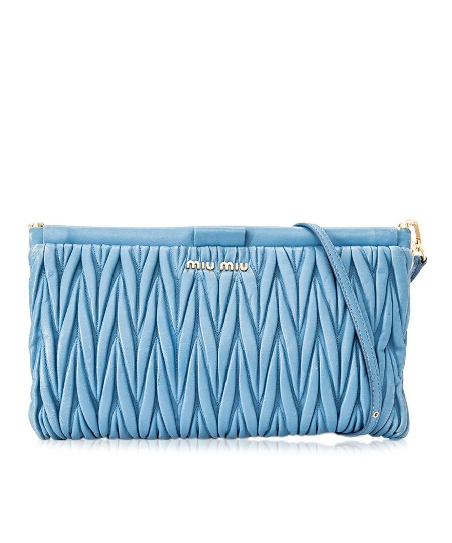 Image for Vintage Miu Miu Matelasse Leather Crossbody Bag Blue