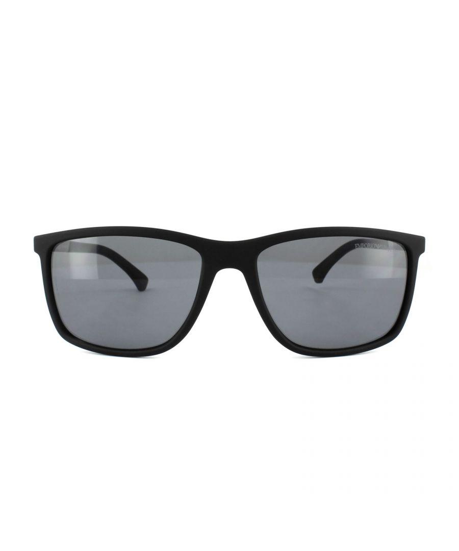 Image for Emporio Armani Sunglasses 4058 5063/81 Black Rubber Grey Polarized