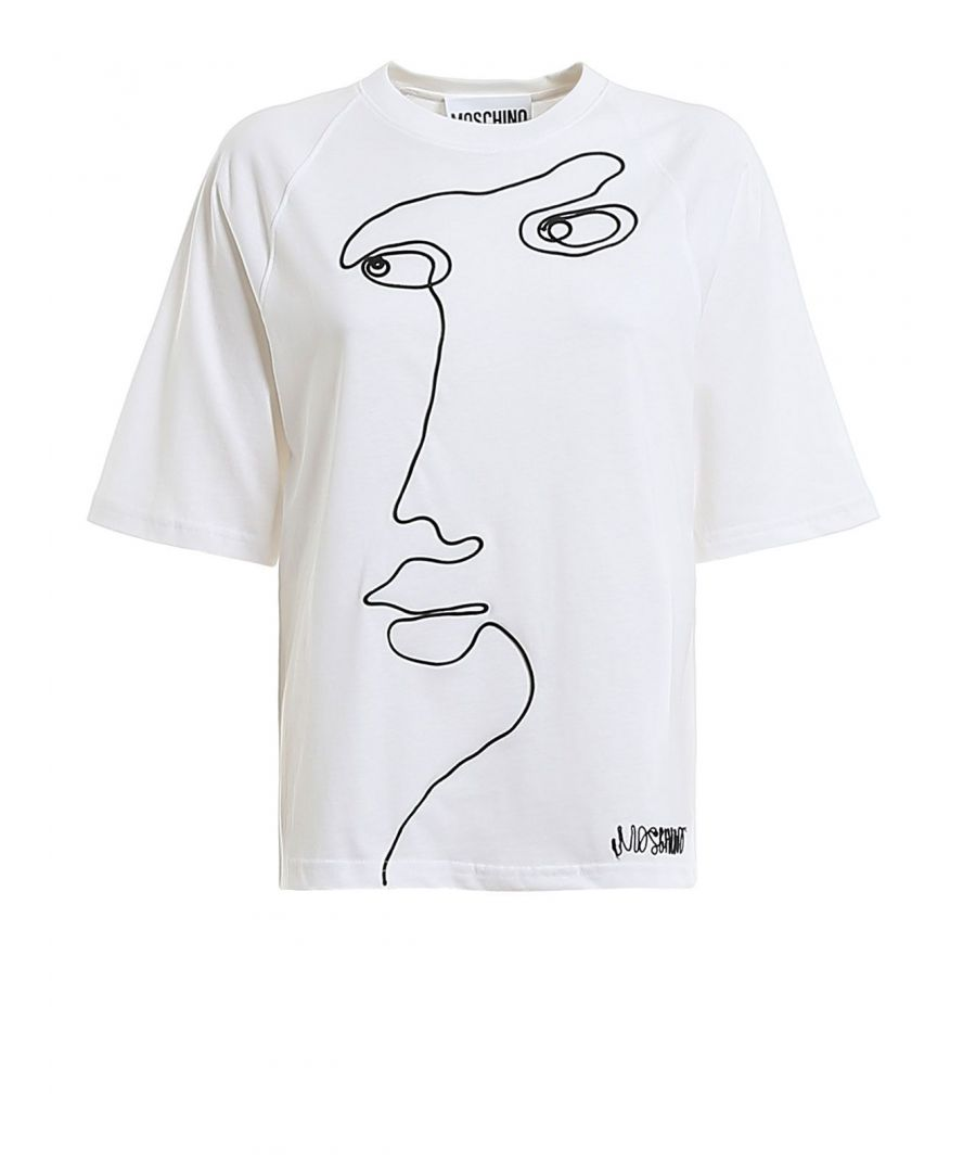 Image for MOSCHINO WOMEN'S J07104401001 WHITE COTTON T-SHIRT