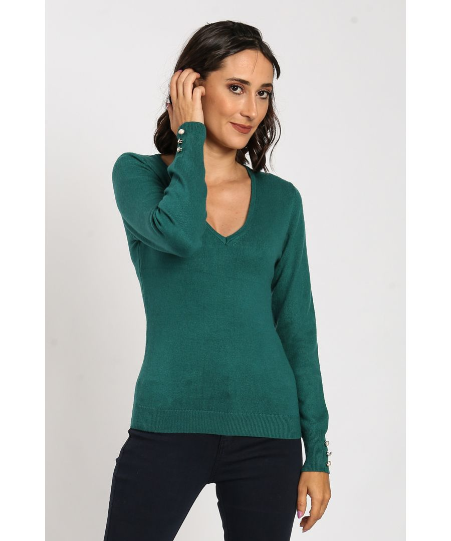 Image for V-Neck Sweater with Pearl Buttons on Sleeves
