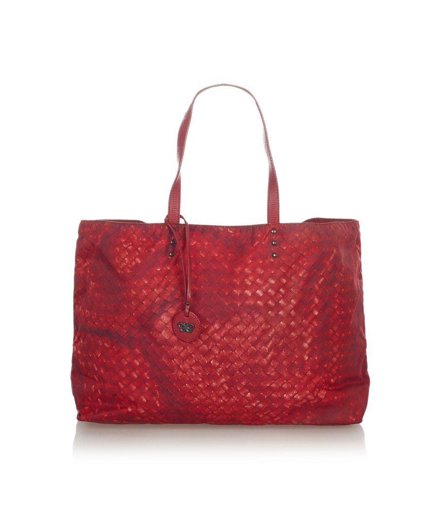 Image for Vintage Bottega Veneta Intrecciolusion Nylon Tote Bag Red