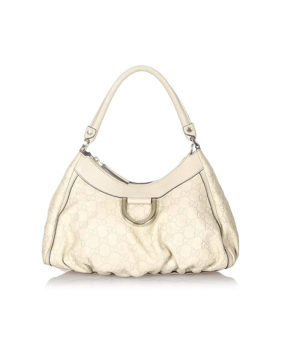 Image for Vintage Gucci Guccissima Abbey D-Ring Leather Shoulder Bag White