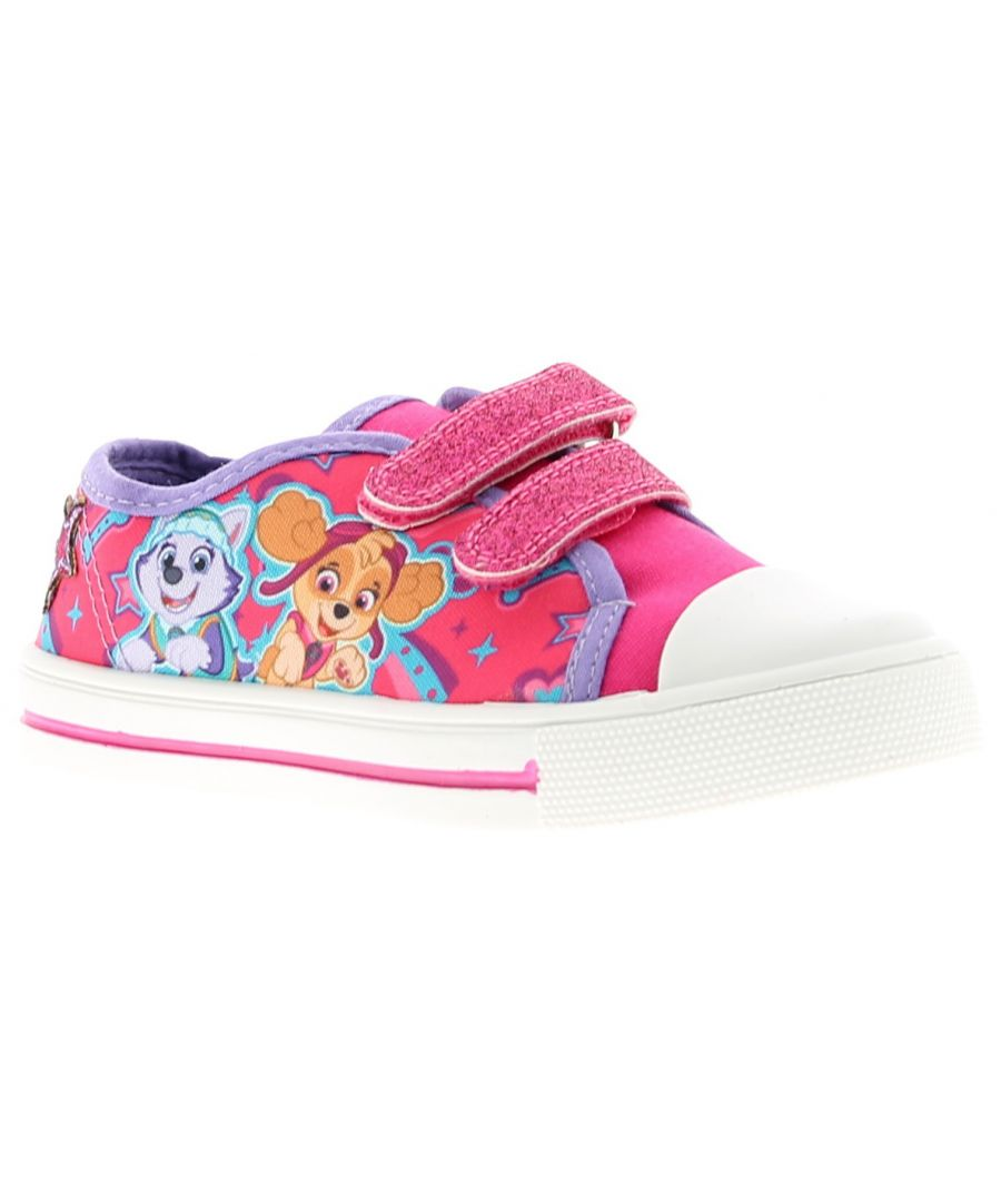 Image for Younger Girls Canvas Shoe With Glitter Twin Touch Fastening Straps Paw Patrol Sky And Everest Artwor