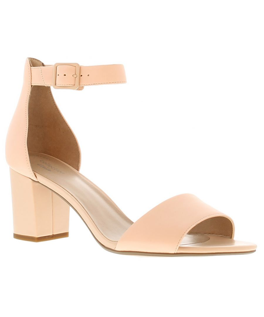 Image for Clarks deva mae leather womens ladies heeled sandals pink