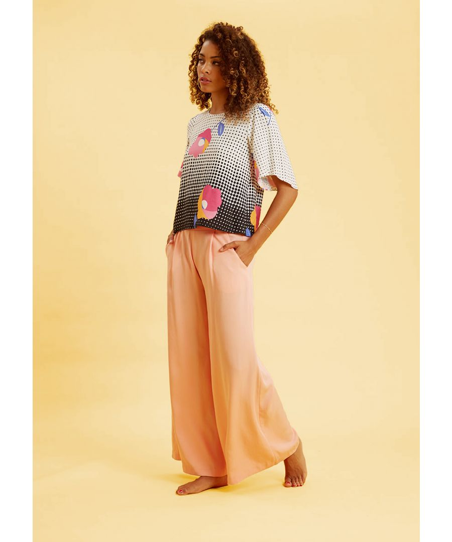 Image for Wide Leg Flared Trousers in Peach
