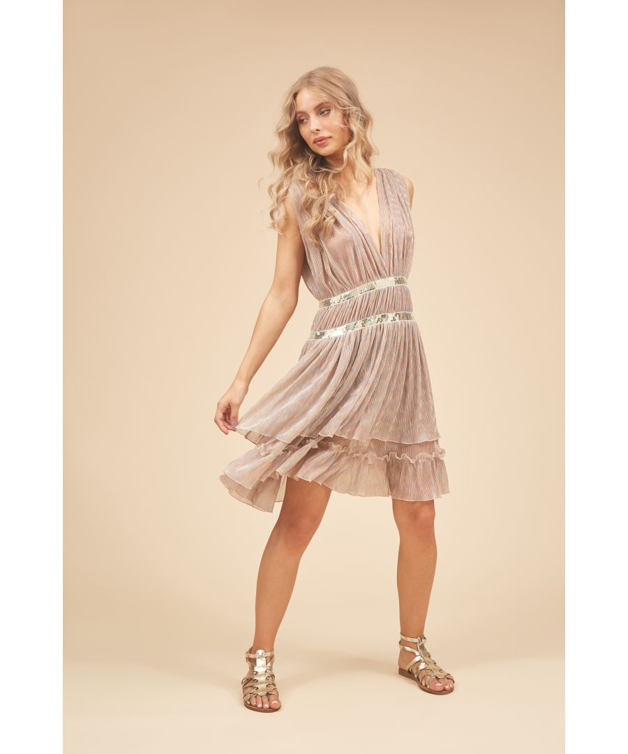 Image for Reckless V-neck Mini Dress in Metallic Gold