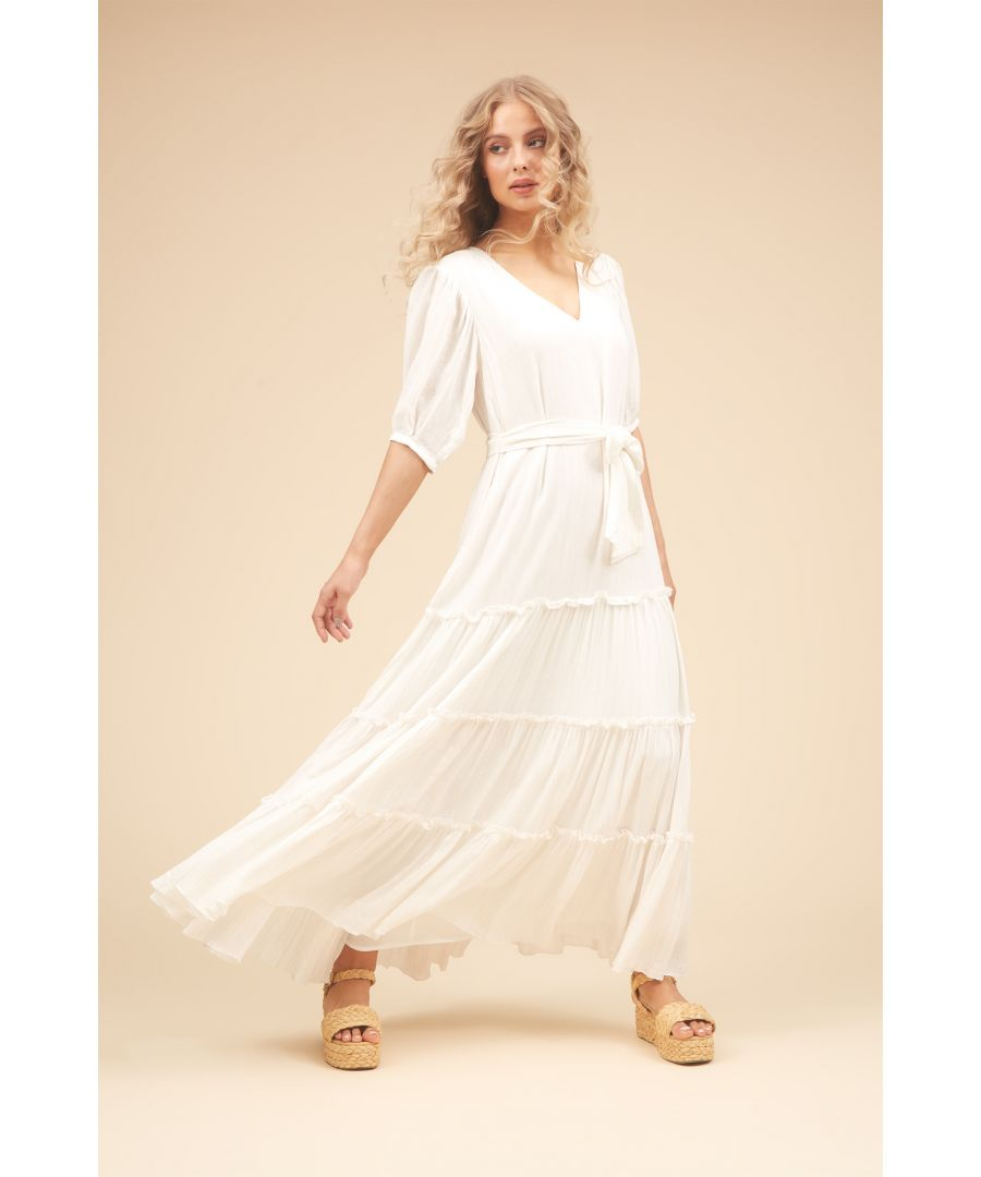 Image for Felicitations Maxi V-Neck Dress in White