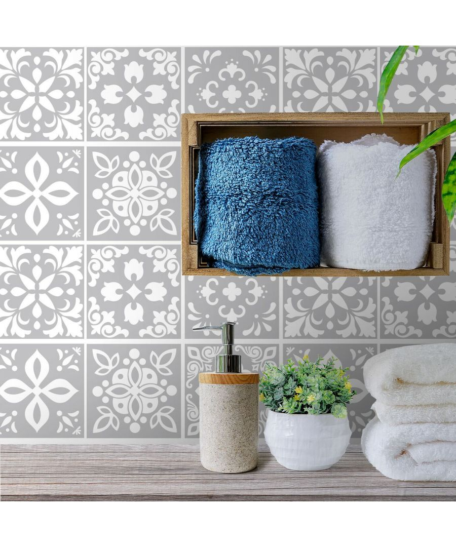 Image for Andalu Light Grey Cement Spanish Wall Tile Sticker Set - 15 x 15 cm (6 x 6 in) - 24 pcs Tiles Wall Stickers, Kitchen, Bathroom, Living room