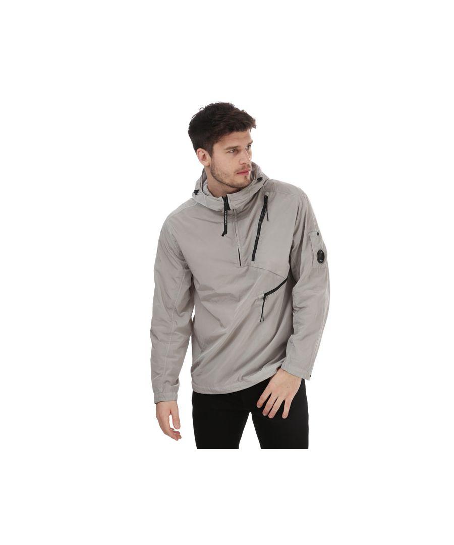 Image for Men's C.P. Company Nylon Zip Popover Jacket in Silver