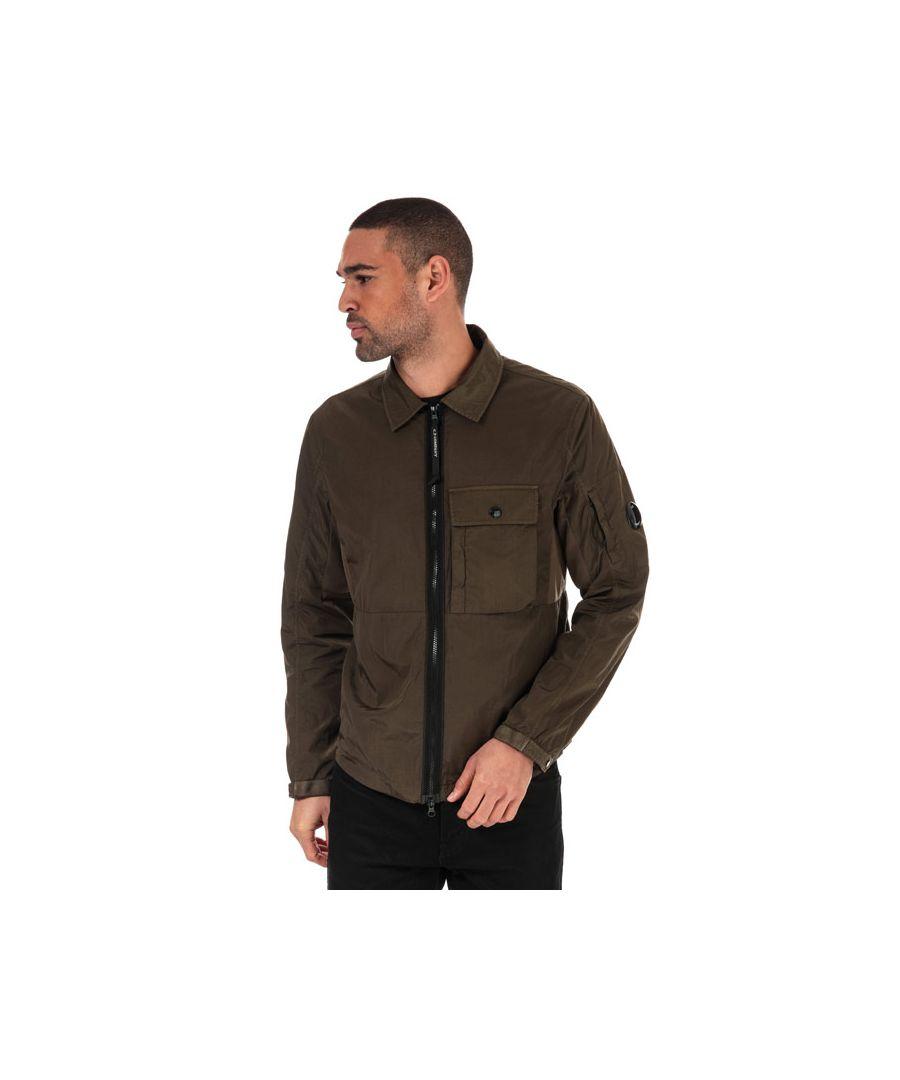 Image for Men's C.P. Company Nylon Zip Overshirt in Green