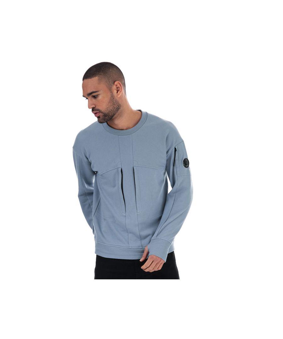 Image for Men's C.P. Company Diagonal Raised Fleece Chest Zip Sweat in Blue