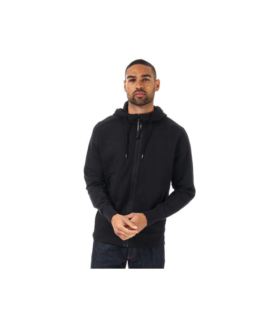 Image for Men's C.P. Company Diagonal Fleece Goggle Zip Through Hoody in Black
