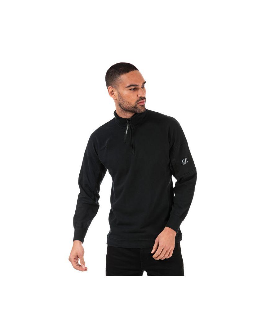 Image for Men's C.P. Company Lens Quarter Zip Sweatshirt in Black