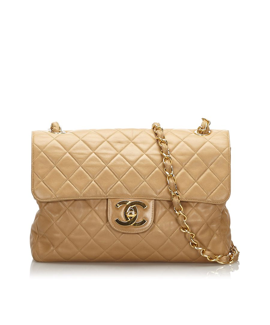 Image for Vintage Chanel Jumbo Classic Single Flap Bag Brown