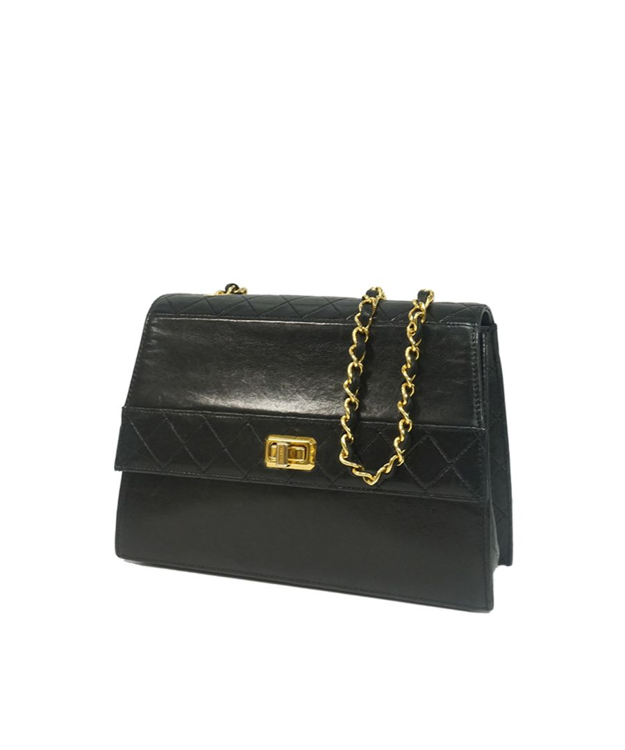 Image for Vintage Chanel Lambskin Leather Shoulder Bag Black