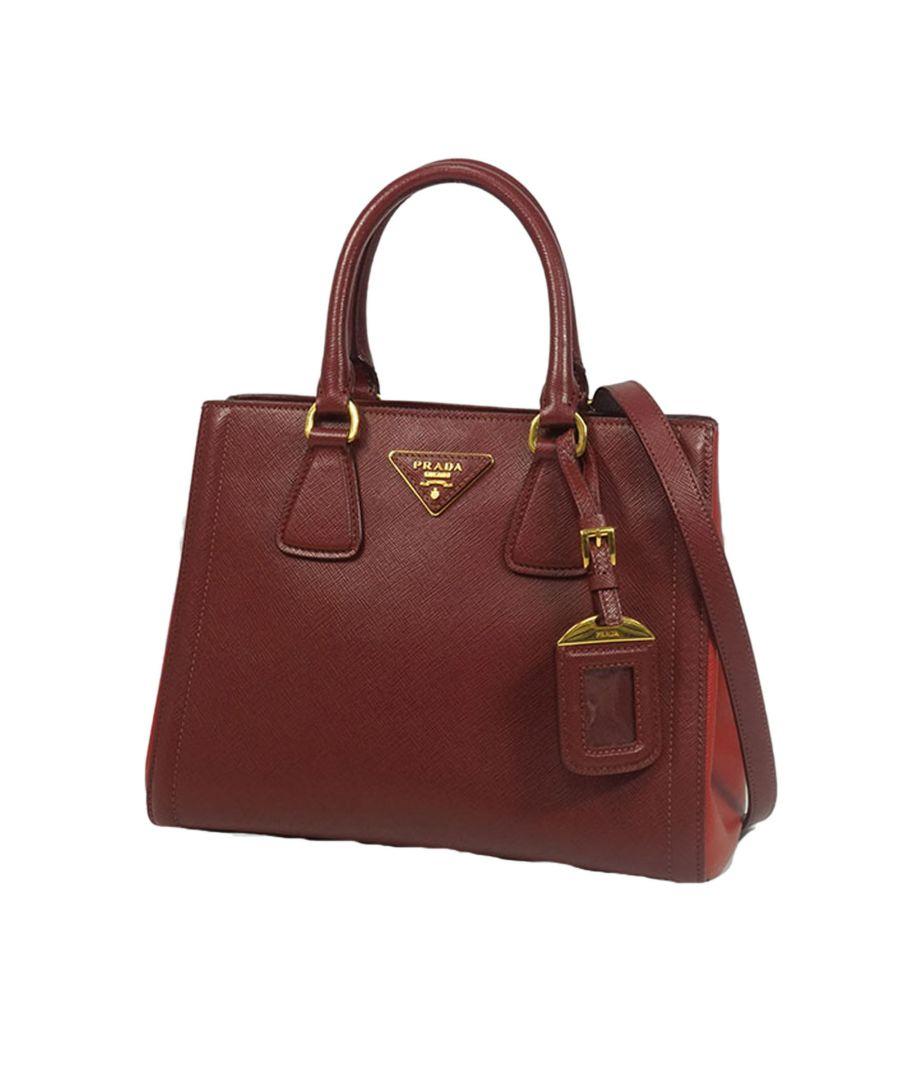 Image for Vintage Prada Saffiano Leather Shoulder Bag Red
