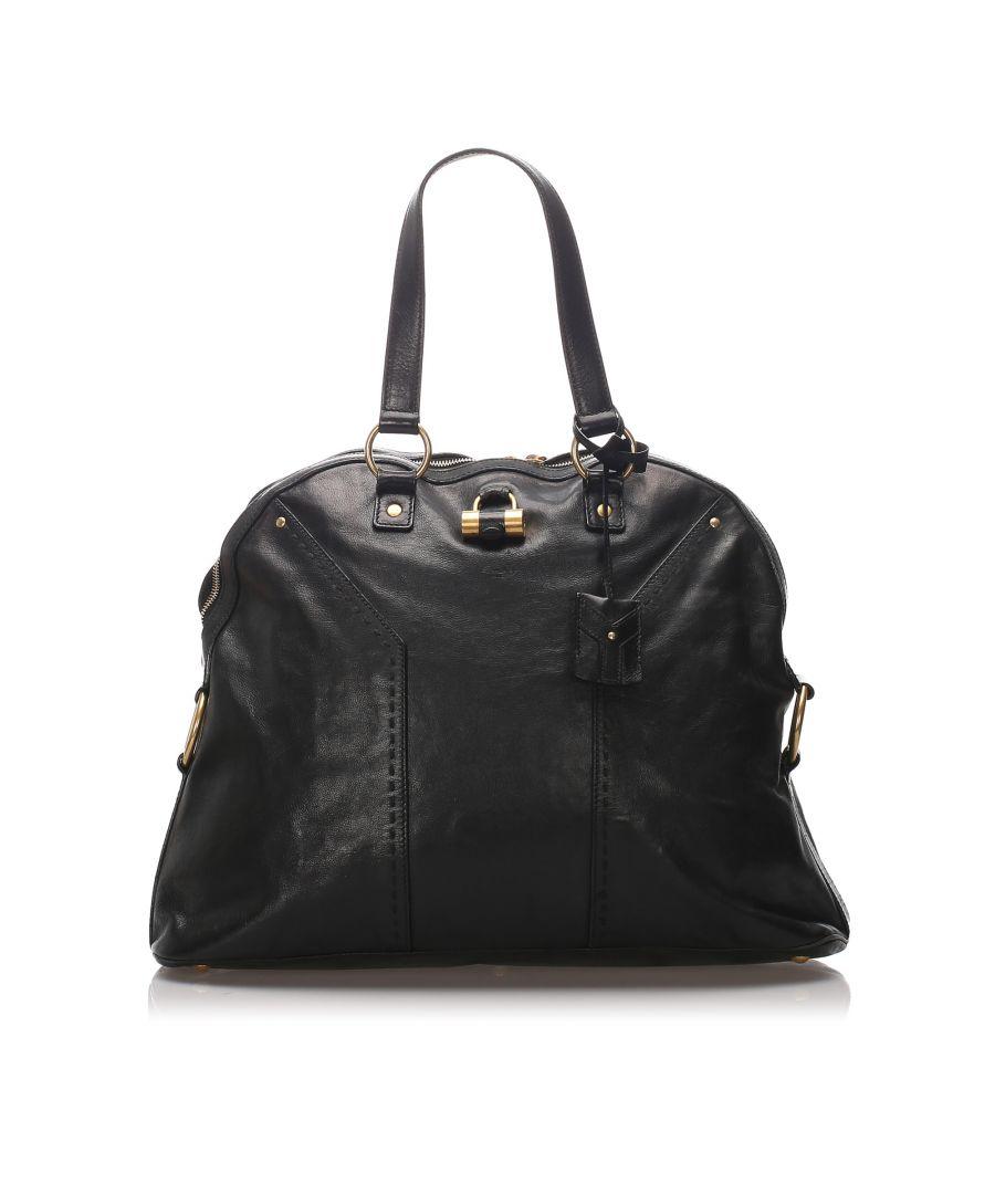 Image for Vintage YSL Leather Muse Handbag Black
