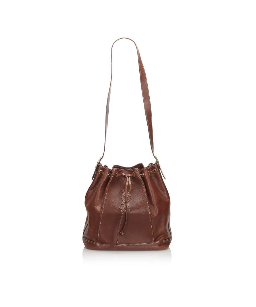 Image for Vintage YSL Leather Drawstring Bucket Bag Brown