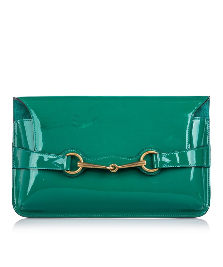 Image for Vintage Gucci Patent Leather Bright Bit Clutch Bag Green
