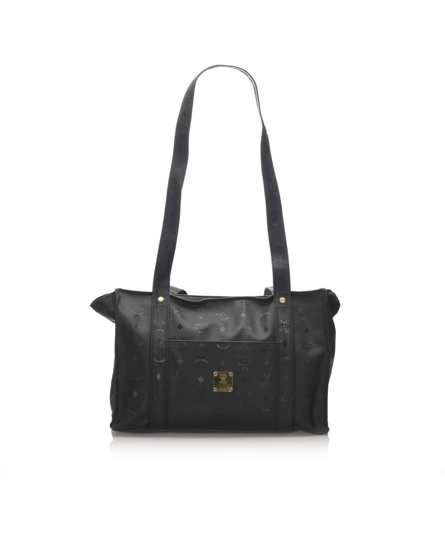 Image for Vintage MCM Leather Visetos Tote Bag Black
