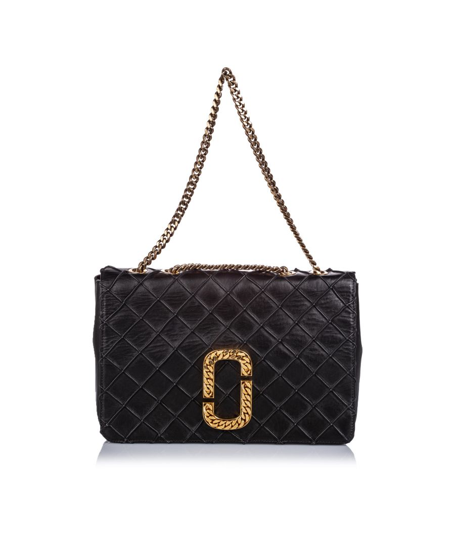 Image for Vintage Marc Jacobs Double J Quilted Leather Flap Black