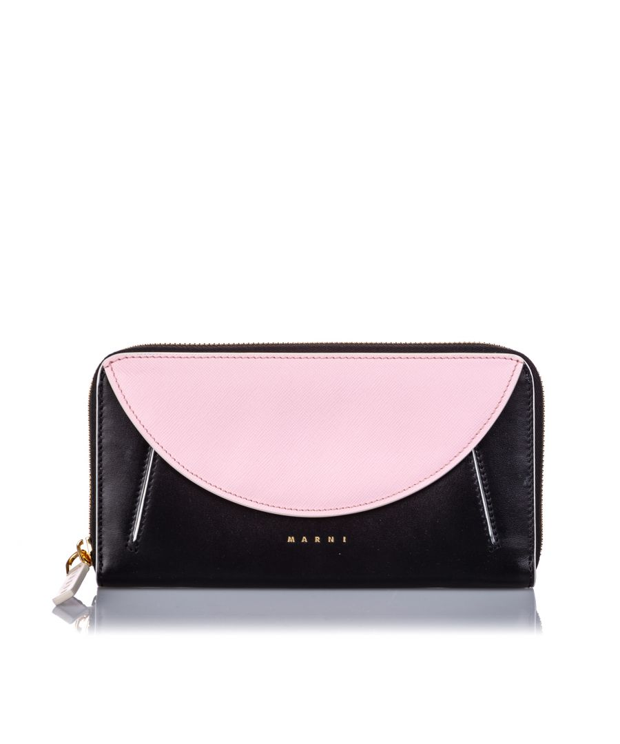Image for Marni Leather Zip Wallet Black